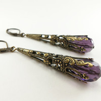Amethyst Earrings Long Dangle Earrings February Birthstone Earrings Steampunk Victorian Jewelry