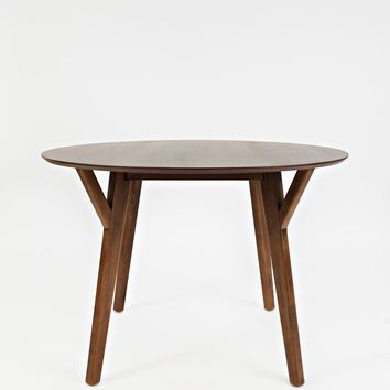 Wooden Round Dining Table with Slanted Legs, Brown