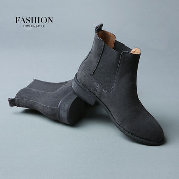 2016 Winter Chelsea Genuine Leather Women Boots Matte Platform Flat Women's Boot Shoes Black Grey Brown Ankle Boot Size 40 ZK2.5