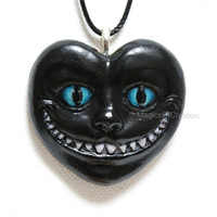Cheshire Cat Black Heart Pendant: Love Is Mad! Alice in Wonderland cat pendant, unique art jewelry, hand painted black cat pendant