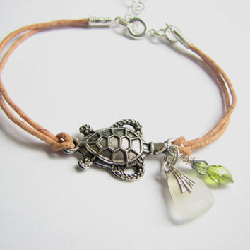 Tan Cord Friendship Bracelet Turtle Sea Glass Bracelet - Sea Turtle Jewelry, Beach Glass Bracelet
