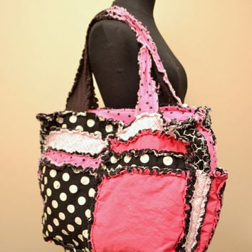 Diaper Bag, PURSE, Rag Quilted Tote, hot pink, black, Made to Order