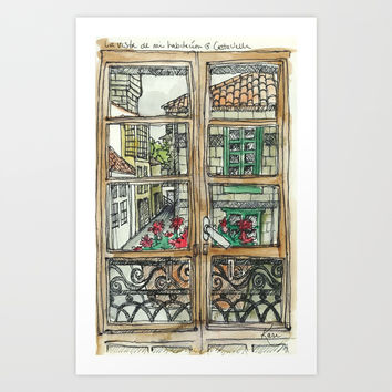 Window in Santiago Spain Art Print by karigale
