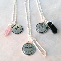 Zodiac Sign Necklace | Astrology Charm Birthday | Aries Taurus Gemini Cancer Leo Virgo Libra Scorpio Sagittarius Capricorn Aquarius Pisces