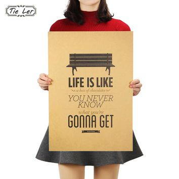 TIE LER Life Like A Box of Chocolates Kraft Paper Bar Poster Retro Poster Decorative Painting Wall Sticker 51x36cm