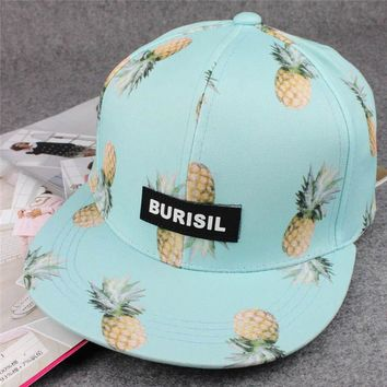 Trendy Winter Jacket Hawaiian Style Women Tropical Fruit Baseball Cap Flat Bill Panel Snapback Hat Blue Pink Black White AT_92_12
