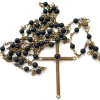 Black Bead Rosary Hand Wound Vintage