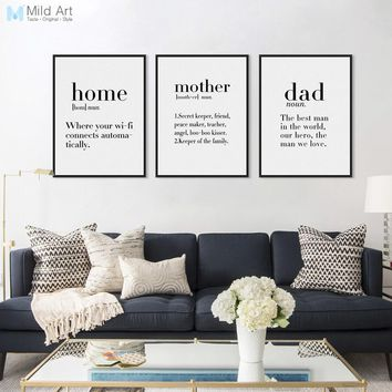 Inspirational Black and White Family Friends Mothers Love Quotes Poster Nordic Style Wall Art Picture Home Decor Canvas Painting