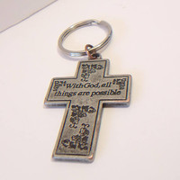 Cross Keychain Religious Scripture Unisex Accessories With God All Things Are Possible