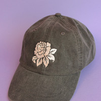Rose Black Washed Baseball Cap