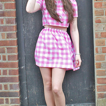 Pink Check Gingham Co-Ord // Two Piece Matching Set // Skirt and Crop Top
