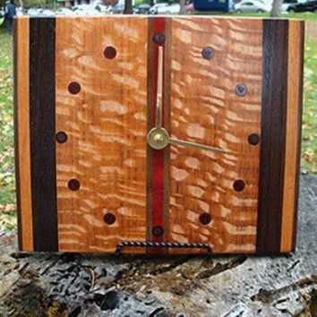 TG Exotic Wood Clocks - Retro Style - Lacewood, Wenge, Walnut, and Bloodwood