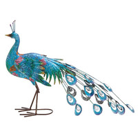 Woodland Imports Metal Crafted Peacock Décor Statue