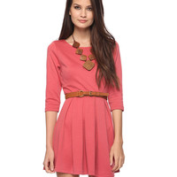 Box Pleated 3/4 Sleeve Dress