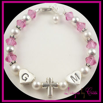 Cross Bracelet Initials Pearl Rosary Crystal Pink  Personalized Crystal Sterling Silver Rosary Prayer, baptism, christening, first communion