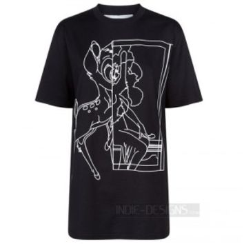 Indie Designs Bambi Outline Printed Cotton T-shirt