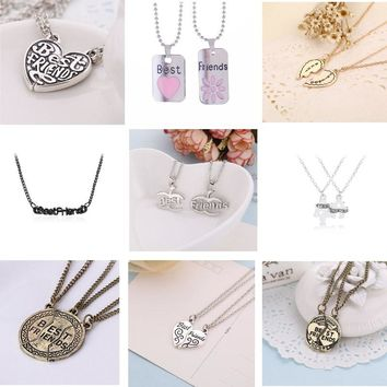 2018 Hot best friends necklace BFF series pendant alloy creative birthday gifts for best friend heart shape bff couple necklace