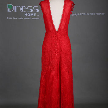 New 2014 Red Round Neck Cap Sleeve Lace A Line Long Wedding Dress/V Back Buttons Lace Wedding Gown/Beach Wedding Dress/Bridal Dresses DH281