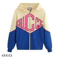 GUCCI hot seller of casual men's and women's monochrome zip-up cardigans and terry hoodies