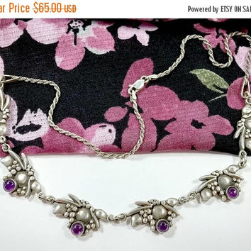 Vintage Sterling Silver Amethyst Grape Clusters Chain Link Style Necklace Hallmarked Signed Rope Chain Lobster Clasp 17 3/4 Inches Long