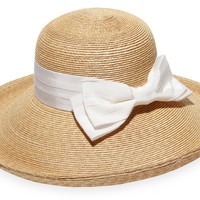 Vivienne Bow Straw Hat, Natural/White, Hats