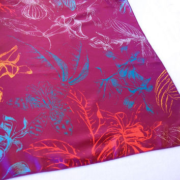 Purple Tropical Print Scarf, XLarge Floral Print Purple Silver Gold Red Turquiose, 80s A Barbera Scarf