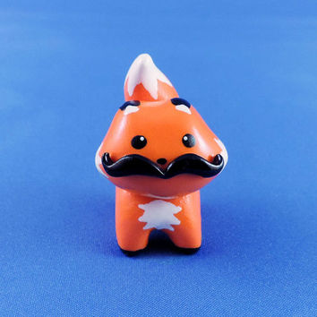 Orange Mustache Fox Totem Polymer Clay