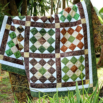Lap Quilt, Quilted Throw, Green Brown Batik Quilt, Patchwork Blanket, Dorm Quilt, Cabin Quilt, Masculine Quilt, Quiltsy Handmade