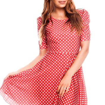 RED DOT PRINT DESIGN SCOOP NECKLINE CASUAL DRESS