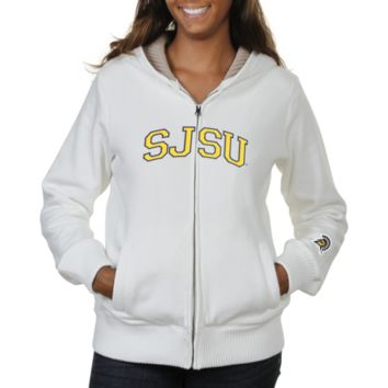 San Jose State Spartans Ladies Huddle Full Zip Sherpa-Lined Hooded Jacket - White