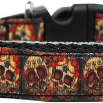 Skull Crossed Lovers Nylon Ribbon Dog Collar Xl