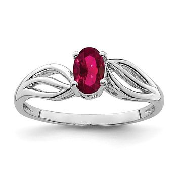 Sterling Silver Created Ruby July Birthstone Ring