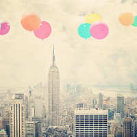 "New York City - 8x10 photograph - ""Balloons over the City"" - fine art print - vintage photography - Manhattan  - New York skyline"