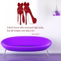 Wall Decals Marilyn Monroe Quote I Don't Know Who Invented High Heels but All Women Owe Him a Lot Girl Woman Shoes Fashion Vinyl Decal Sticker Beauty Shop Living Room Decor Home Interior Design Art Murals