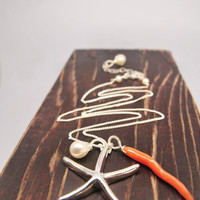 Seaside Wedding Ideas/Sterling Silver Starfish Necklace/Vintage Coral with Sterling Silver Starfish Necklace