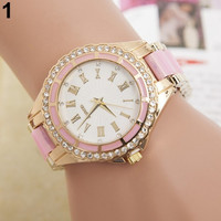 Lady Women's fashion Roman Numerals Dial Crystal Gold Link chain Wristwatch Quartz Vintage Bracelet Watch popular goods = 1956413252