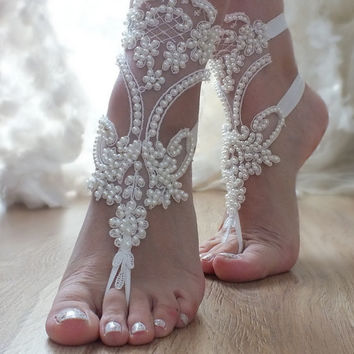 FREE SHIP ivory Barefoot , pearl beaded embroidered french lace sandals, wedding anklet, Beach wedding barefoot sandals,