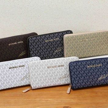 """Michael Kors"" Women MK Purse Fashion Classic Logo Letter Print Zip Long Section Wallet Handbag"