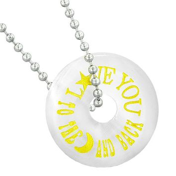 Inspirational Love You to the Moon and Back Amulet Lucky Donut White Simulated Cats Eye Necklace