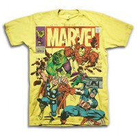 Marvel Comics Group The Avengers In Action Adult Yellow T-shirt - Marvel Comics - | TV Store Online