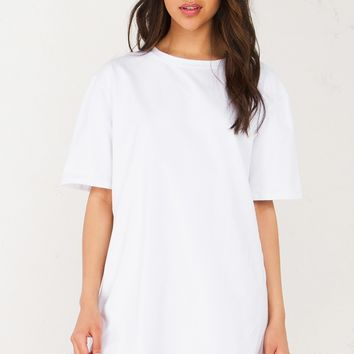 Oversized Short Sleeve Dress in White