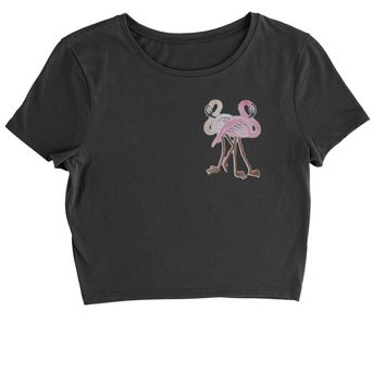 Embroidered Flamingos Patch (Pocket Print) Cropped T-Shirt