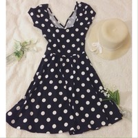 🐼Crisscross back polka dots skater dress