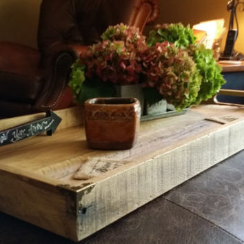 "Rustic Reclaimed Wood Tray, Pallet Board Tray, Rustic Decor, Home Decor, 31""x10"" Ottoman Wood Tray, Shabby Chic, Country Cottage, Table Tray"