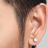 Crown Sterling Silver Ear Stud Earrings with Diamond for Women Men + Beautiful Gift Box