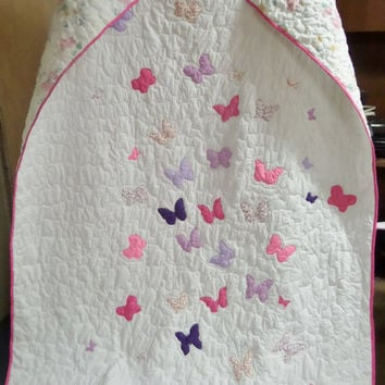 Twin size butterfly quilt - Girl bedding - Personalized homemade