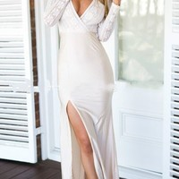 Color Block Wrap Plunge Lace Overlay Split Bodycon Maxi Dress - Choies.com