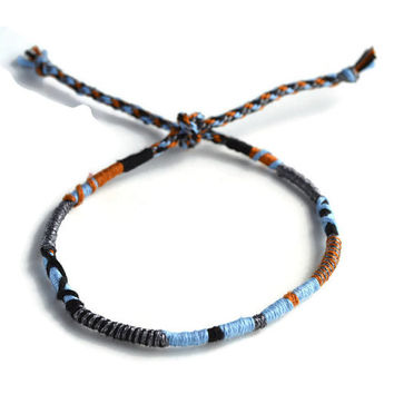 Sparkly Grey and Black Friendship Bracelet and Anklet, Black, Tan and Light Blue Wanderlust Friendship Anklets