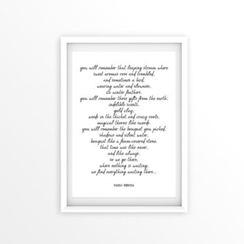 You Will Remember, PABLO NERUDA, Poetry Gift Print
