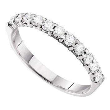 14kt White Gold Women's Round Pave-set Diamond 3.5mm Wedding Band 1/2 Cttw - FREE Shipping (US/CAN)